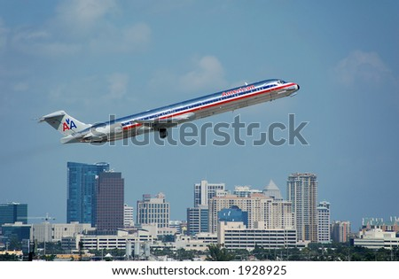 American Airlines MD-82 taking off - stock photo