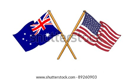 American and Australian alliance and friendship - stock photo
