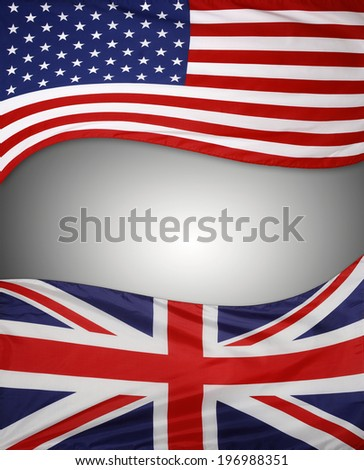 American and British flags on plain background. Copy space