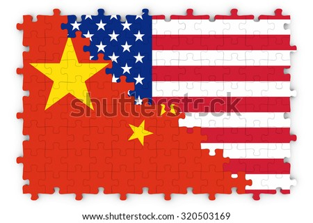 American and Chinese Relations Concept Image - Flags of China and the United States of America Jigsaw Puzzle - stock photo