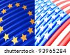 American and EU flags. computer rendering - stock photo