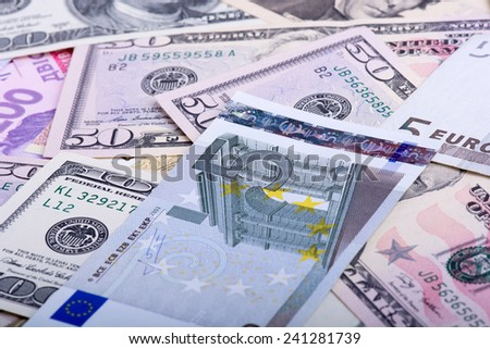 american and european money, dollars and euro money