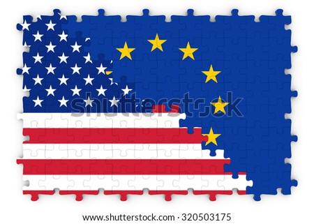 American and European Relations Concept Image - Flags of the European Union and the United States of America Jigsaw Puzzle - stock photo