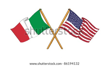 American and italian alliance and friendship - stock photo