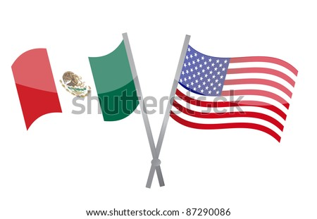 American and Mexican alliance and friendship - stock photo