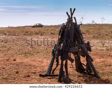 American assault rifles, positioned ready for use - stock photo