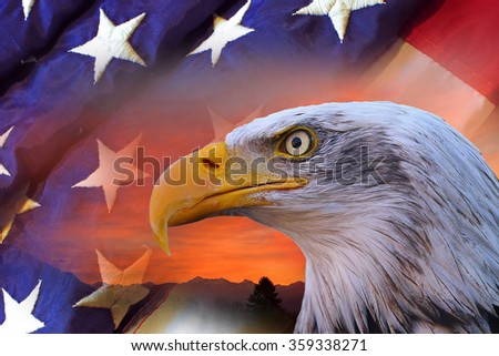 American bald eagle and flag - stock photo