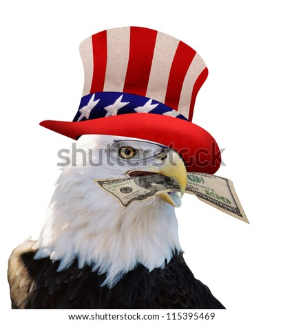 American Bald Eagle With Cash. - stock photo