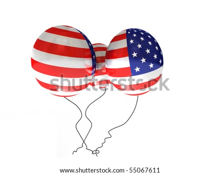 American balloons isolated on white background. High quality 3d render.