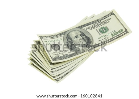 American bank notes isolated on the white background - stock photo