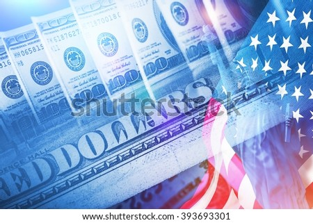 American Banking Concept. American Dollars, Statue of Liberty and United States of America Flag. Powerful Currency Conceptual Illustration. - stock photo