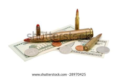 American banknotes, coins and tracer cartridges on white background - stock photo