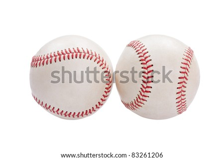American baseball two balls on white background