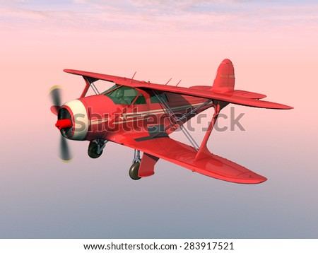 American biplane from the 1930s Computer generated 3D illustration - stock photo