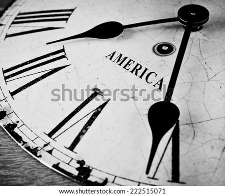 American black and white clock - stock photo