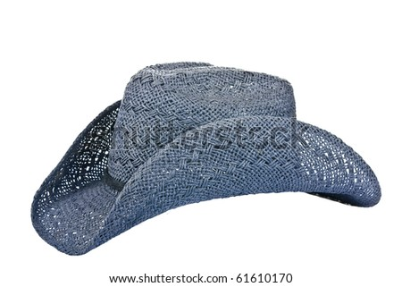 American blue straw cowboy hat isolated on white