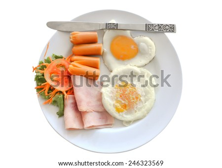 american breakfast is easy in the morning - stock photo