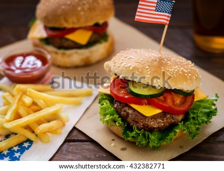 American Burger and a Glass of Beer