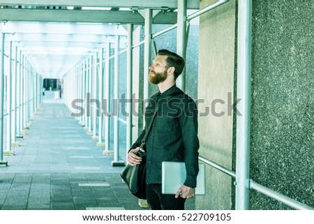 american business man beard mustache travels stock photo 522697213 shutters. Black Bedroom Furniture Sets. Home Design Ideas