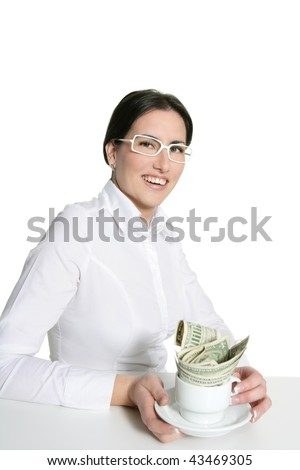 American businesswoman coffee break metaphor tea cup on white - stock photo