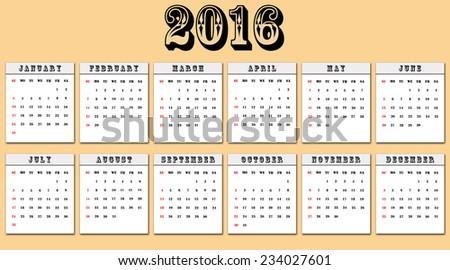 American calendar week starts on Sunday - stock photo