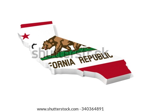 American California 3D shape and flag
