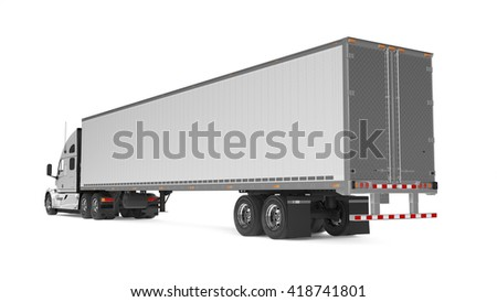 American Cargo Truck Isolated on White - stock photo