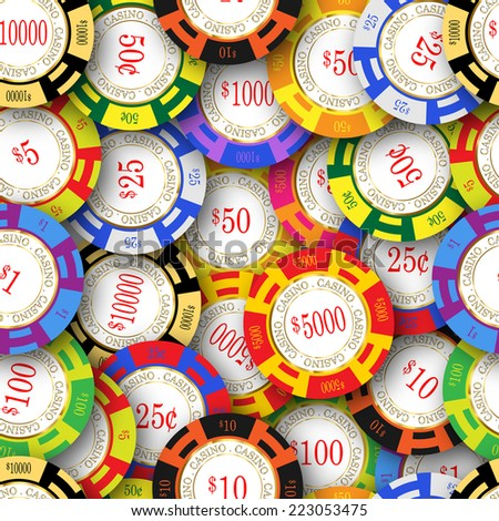 American casino chips. Seamless image that repeats left, right, up and down  - stock photo