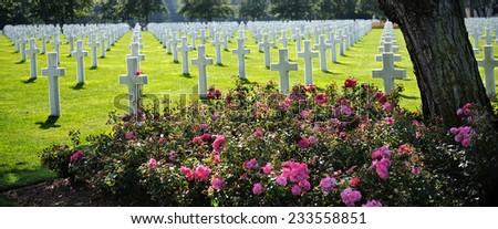 American cemetery in Omaha Beach, Normandy - stock photo