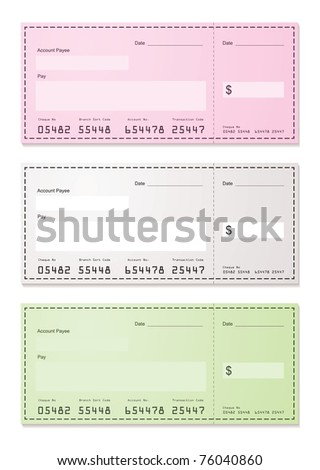 American check payment paper slip with room to add your own amounts - stock photo