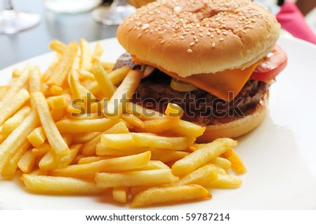 American cheese burger - stock photo