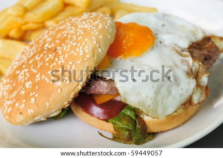 American cheese burger with egg