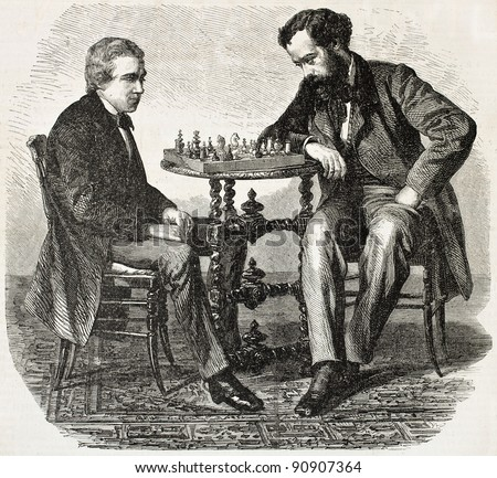 American chess prodigy Paul Morphy (on the left) playing a match. Created by Marc, published on L'Illustration, Journal Universel, Paris, 1858 - stock photo