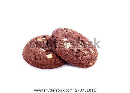 American chocolate cookie isolated on a white background - stock photo