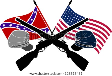 American Civil War. stencil. second variant. raster variant - stock photo