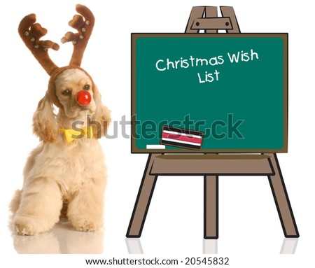 american cocker spaniel dressed up as rudolph sitting beside chalkboard with christmas wish list - stock photo