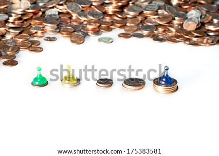American coins and pawns illustrating success and failure - stock photo