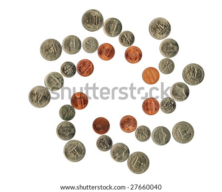 American coins in moving, isolated, over white.