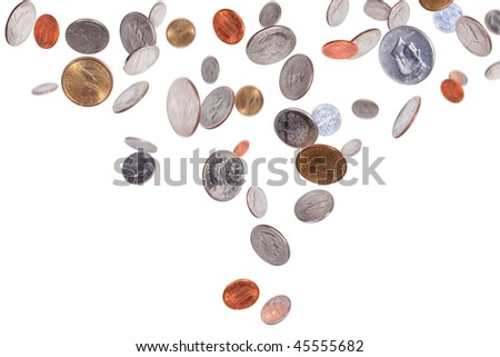 American coins isolated on white background - stock photo