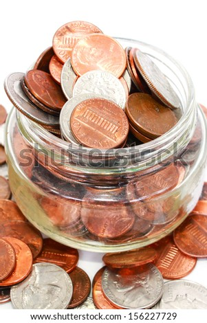 American coins on white - stock photo