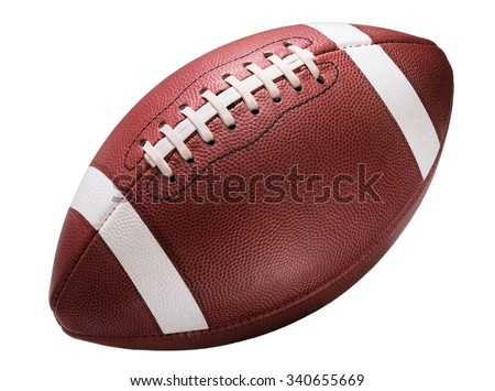 American college high school junior striped football isolated on white background diagonal in frame without shadow - stock photo