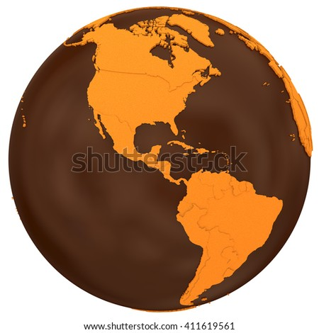 American continents on chocolate model of planet Earth. Sweet crusty continents with embossed countries and oceans made of dark chocolate. 3D illustration isolated on white background. - stock photo