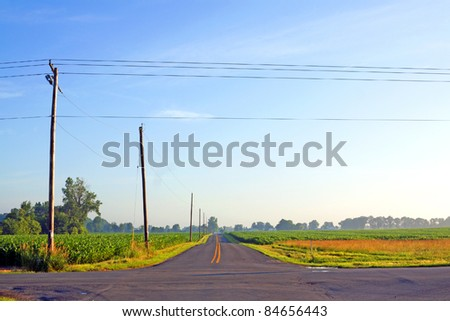 American Country Road at Sunset
