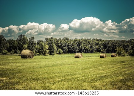 American countryside against sky with clouds - stock photo