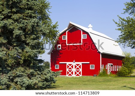 American Countryside With Blue Sky - stock photo