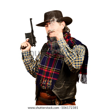 american cowboy with revolver, smoking cigar on white square background