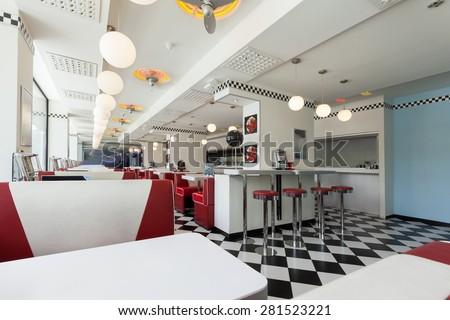 american diner restaurant - stock photo
