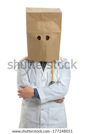 American doctor covering head with paper bag isolated over white background