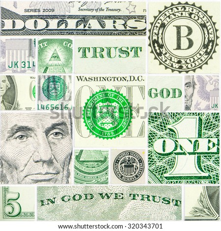 american dollar as the world reserve currency in squares and rectangles