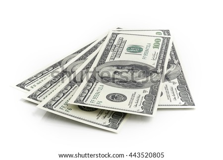 American dollar banknotes on white background. 3d rendering